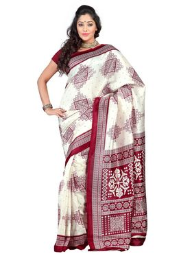 Triveni sarees Art Silk Printed Saree - Cream - TSKCMK12811A