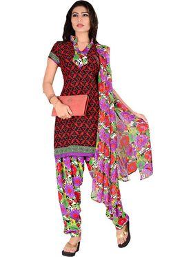 Triveni Sarees Beautiful Printed Polyseter Salwar Kameez With Dual Tops - TSDKTSK3005