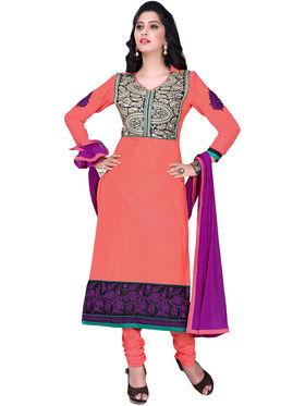 Triveni Cotton Embroidered Semistitched Dress Material - Orange - TSHCSDRSK9058