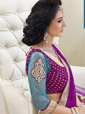 Triveni Jacquard - Net Embroidered Lehenga Choli - Purple and Blue -TSN82004