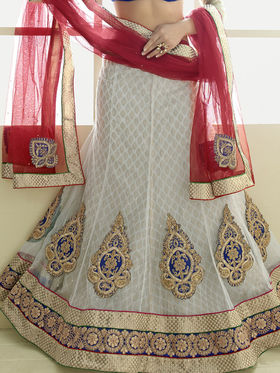 Triveni Jacquard - Net Embroidered Lehenga Choli - Blue and Off-White -TSN82007