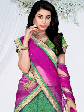 Triveni Chanderi - Jacquard Embroidered Lehenga Choli - Pink and Green -TSSATKL507
