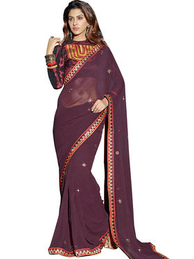 Triveni Faux Georgette Border Worked Saree - Brown - TSXAS624
