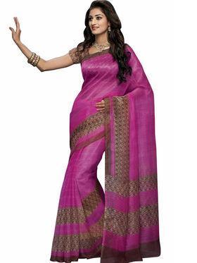 Triveni sarees Supernet Printed Saree - Magenta - TSBL2088