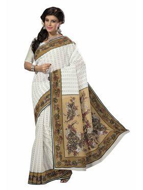 Triveni sarees Cotton Printed Saree - Off White - TSMRCCRD428