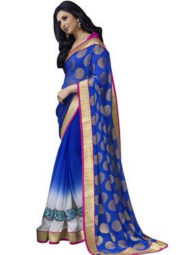 Triveni sarees Faux Georgette and Chiffon Embroidered Saree - Blue