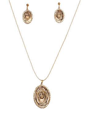 Urthn Glamour Design Chain Pendent Set in Goldan - Golden - 1200815