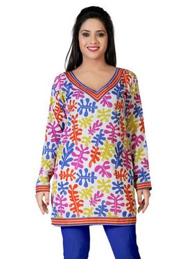 Variation Faux Crepe Printed Kurti - Multicolor - VD15088