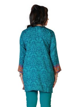 Variation Faux Crepe Printed Kurti - Green - VD15130
