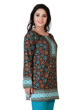 Variation Faux Crepe Printed Kurti - Brown - VD15155