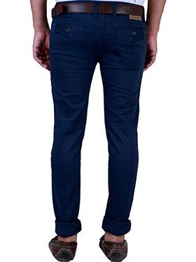 Velgo Club Plain Comfort Fit Cotton Lycra Chinos - Blue