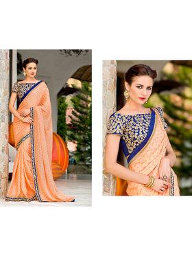 Nanda Silk Mills Embroidered Orange Saree_VR-2203