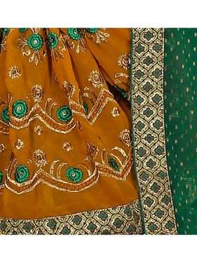 Khushali Fashion Embroidered Georgette Half & Half Saree_KF17