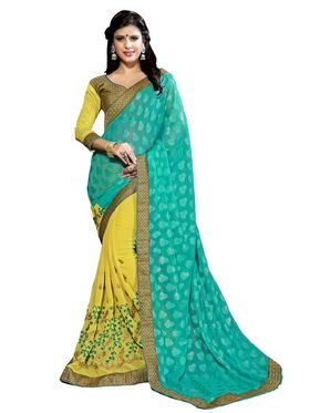 Khushali Fashion Embroidered Georgette Half & Half Saree_KF21