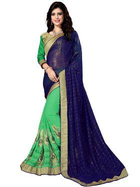 Khushali Fashion Embroidered Georgette Half & Half Saree_KF22