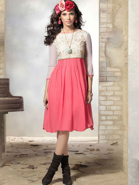 Viva N Diva 60 Gm Georgette Embroidered Kurti - Dusty Pink & Off White - 2015