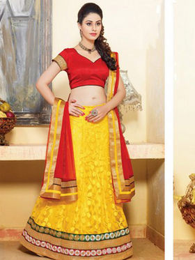 Viva N Diva Brasso Embroidered Lahenga - Yellow