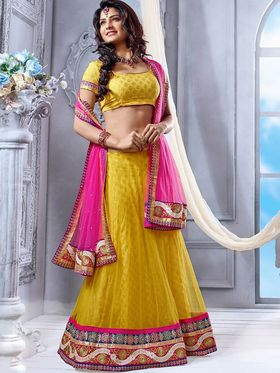 Viva N Diva Soft Net Embroidered Lehenga - Yellow