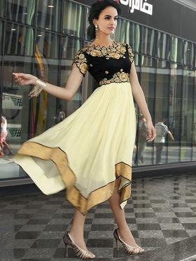 Viva N Diva Faux Georgette Embroidered Kurti - Cream & Black - Nova-11012