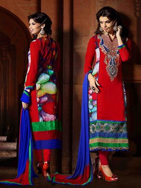 Viva N Diva Georgette Embroidered Dress Material - Red