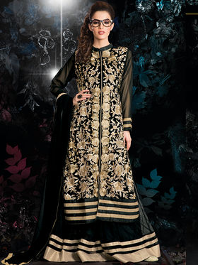 Viva N Diva Embroidered 2 in 1 Lehenga cum Salwar Suit - Black - Aarvi-403