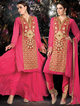 Viva N Diva Embroidered 2 in 1 Lehenga cum Salwar Suit - Pink - Aarvi-404