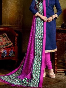 Viva N Diva Banglori Silk Printed Suit - Blue - Misty-43006