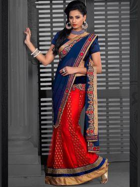 Viva N Diva Jacquard+Georgette Chiffon Embroidered Lehenga Saree - Red & Navy Blue