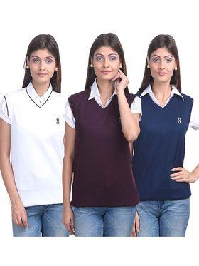 Pack of 3 Eprilla Spun Cotton Plain Sleeveless Sweaters -eprl14