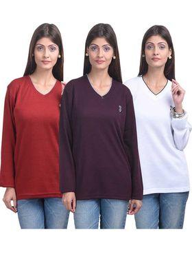 Pack of 3 Eprilla Spun Cotton Plain Full Sleeves Sweaters -eprl50
