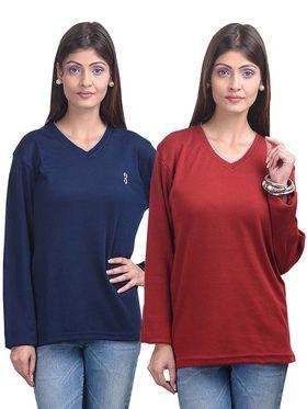 Pack of 2 Eprilla Spun Cotton Plain Full Sleeves Sweaters -eprl42