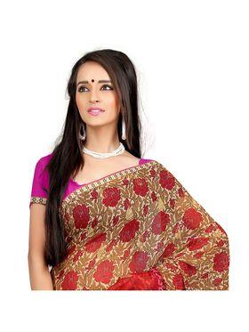 Khushali Fashion Chiffon Saree(Beige,Red)_YNADS20131