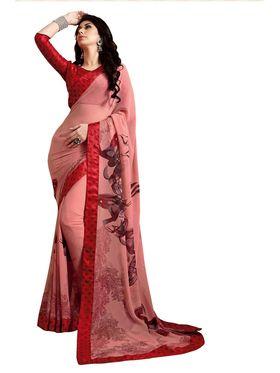 Khushali Fashion Georgette Saree(Peach)_YNDST20422