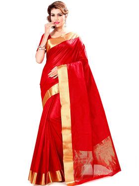 Zoom Fabrics Plain Cotton Silk Red Saree -Zm4018B