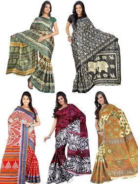 Pack of 5 Florence Printed Art Silk Saree -fs14