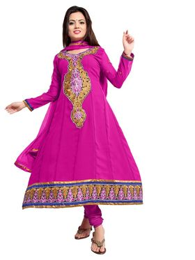 Khushali Fashion Georgette Embroidered Dress Material - Rani - GDY04