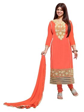 Khushali Fashion Glaze Cotton Embroidered Dress Material - Orange - LVM2001