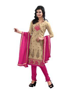 Khushali Fashion Chanderi Embroidered Dress Material - Chikoo - PARI208