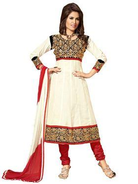 Khushali Fashion  Cottonto Embroidered Dress Material - White - ZB04