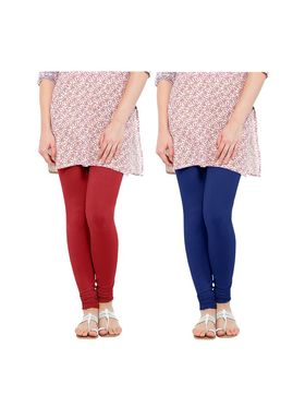 Pack of 2 Oh Fish Solid Cotton Stretchable Leggings -zwe61