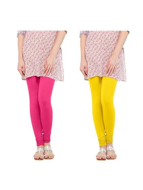 Pack of 2 Oh Fish Solid Cotton Stretchable Leggings -zwe30
