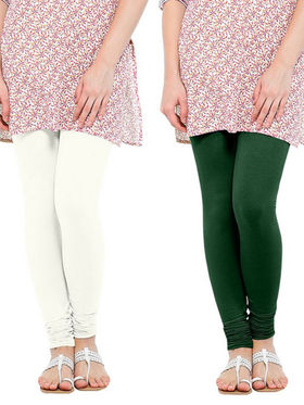 Pack of 2 Oh Fish Solid Cotton Stretchable Leggings -zwe50
