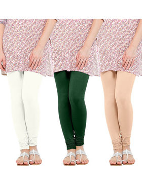 Pack of 3 Oh Fish Solid Cotton Stretchable Leggings -zwe77