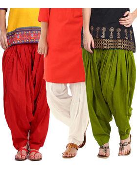Combo of 3 Javuli Plain Pure Cotton Semi Patiala Salwar-ja81