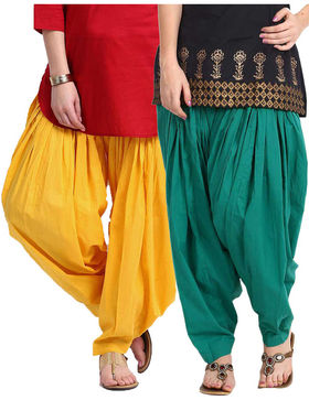 Combo of 2 Javuli Plain Pure Cotton Semi Patiala Salwar-ja90