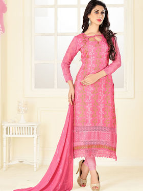 Viva N Diva Soft Lawn Cotton Embroidered Dress Material - Dusty Pink - Heritage-4001