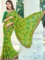 Indian Women Printed Moss Chiffon Green Designer Saree -Ic11315