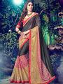 Indian Women Embroidered Lycra Multicolor Designer Saree -MG12316