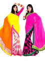 Pack of 2 Zoom Fabrics Embroidered Chiffon Saree_2709-A, 2712-A
