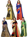 Pack of 5 Bhuwal Fashion Plain Tussar Silk Multicolor Saree -Combo262